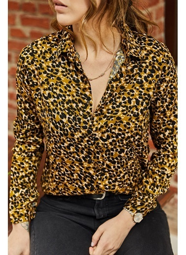 XHAN Desenli Gömlek 9Kxk2-43118-10 Sarı